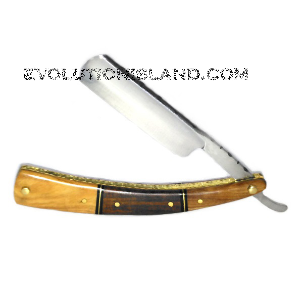 Carbon Steel Straight Razor with Olive Wood, Walnut Wood and Brass brown handle