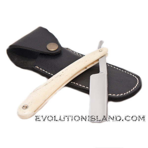 Carbon Steel Straight Razor with Camel Bone white handle