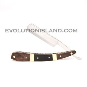 Carbon Steel Straight Razor with Walnut Wood, Buffalo Horn and Brass brown and black handle