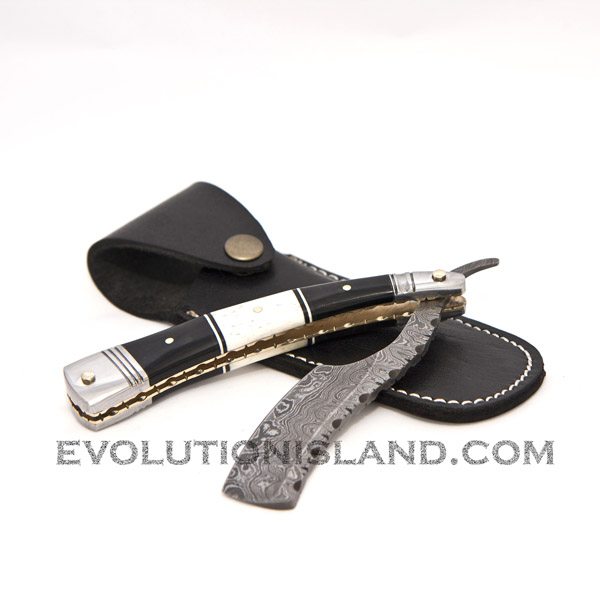 Damascus Steel Straight Razor with Camel Bone, Buffalo Horn and Stainless Steel handle