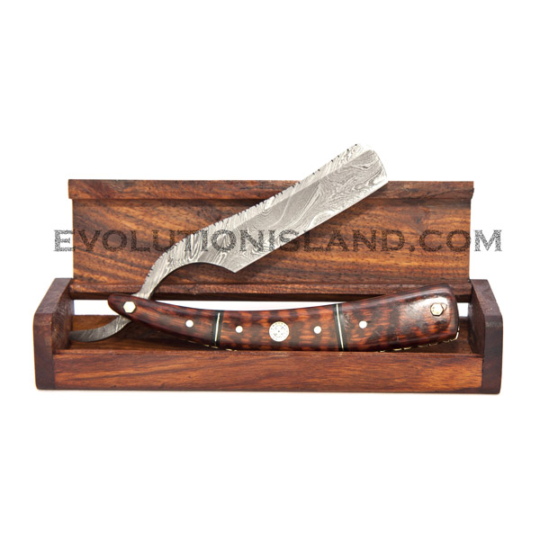 Damascus Steel Straight Razor with Snakewood and Brass handle