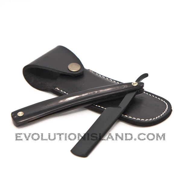 Straight Carbon Steel Razor with Buffalo Horn black handle
