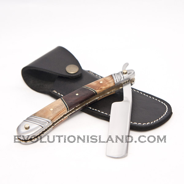 Straight Carbon Steel Razor with Chinar Wood, Walnut Wood and Stainless Steel brown handle