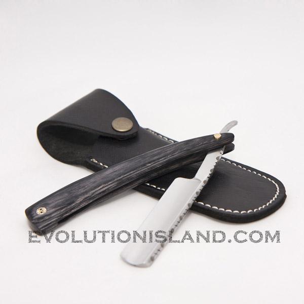 Straight Carbon Steel Razor with Pakkawood black handle