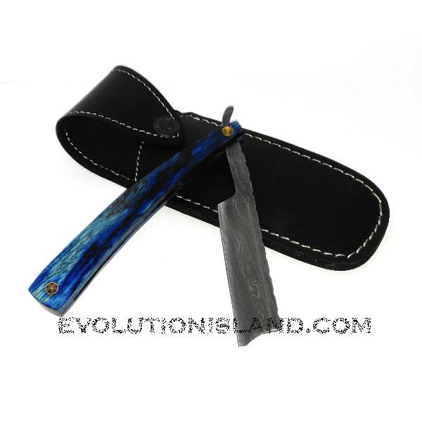 Damascus Steel Straight Razor with Pakkawood Blue handle