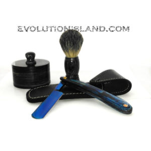 Carbon Steel Straight Razor with Pakkawood blue handle Shaving Set