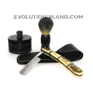 Carbon Steel Straight Razor with Stag and Brass handle Shaving Set