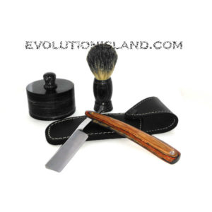 Carbon Steel Straight Razor with Pakkawood brown and red handle Shaving Set