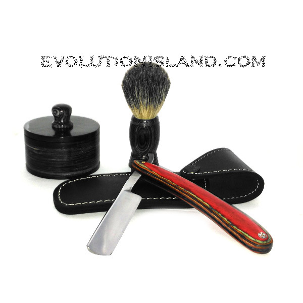 Carbon Steel Straight Razor with Pakkawood handle Shaving Set
