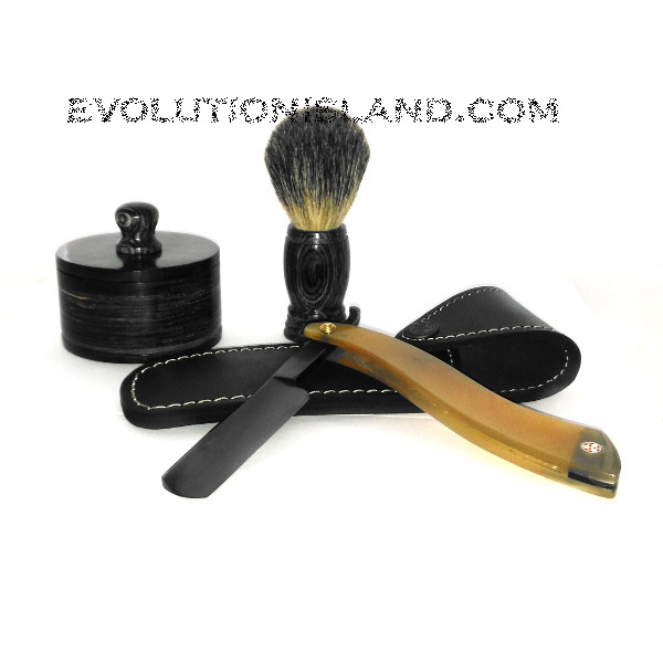 Carbon Steel Straight Razor with Buffalo Horn White handle Shaving Set