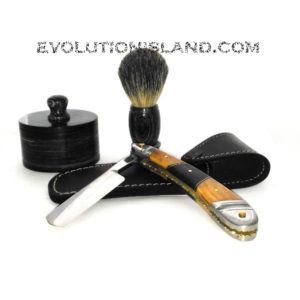 Carbon Steel Straight Razor with Chinar Wood, Walnut Wood and Stainless Steel brown handle Shaving Set