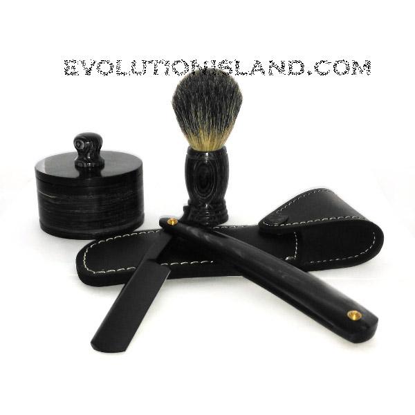 Carbon Steel Straight Razor with Buffalo Horn black handle Shaving Set