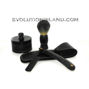 Carbon Steel Straight Razor with Pakkawood black handle Shaving Set