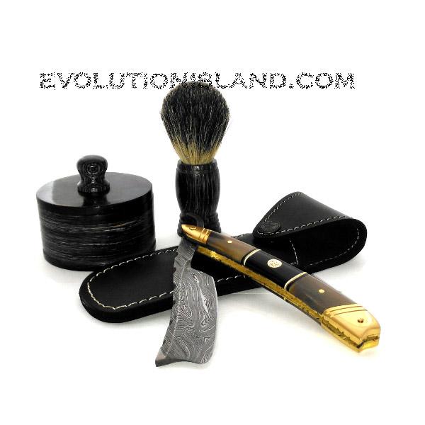 Damascus Steel Straight Razor with Buffalo Horn and Brass handle Shaving Set