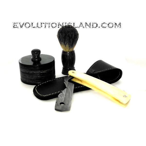 Damascus Steel Straight Razor with White Camel Bone handle Shaving Set