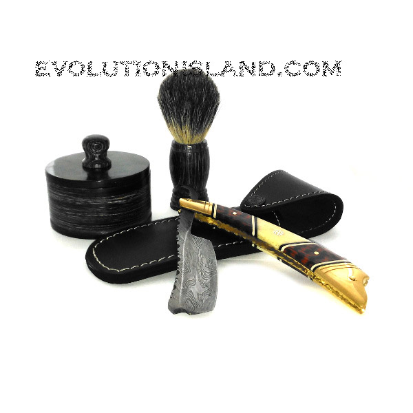 Damascus Steel Straight Razor with Buffalo Horn and Brass handle Shaving Set