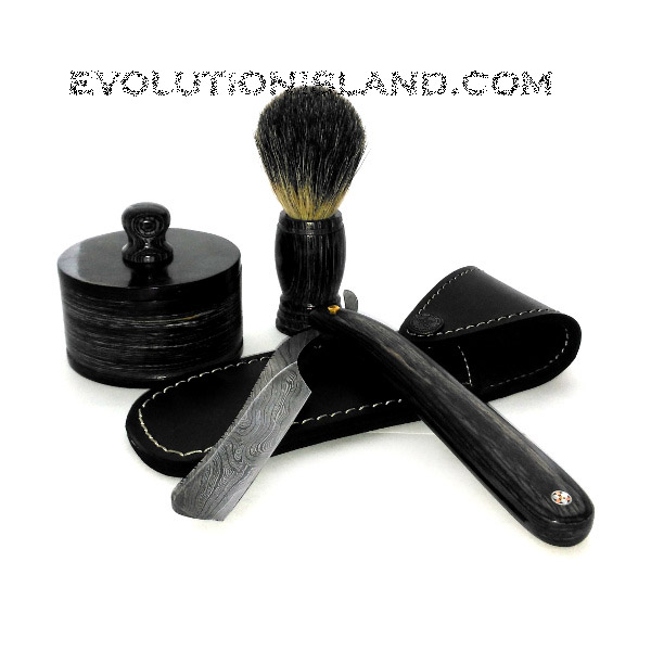 Damascus Steel Straight Razor with Buffalo Horn Black handle Shaving Set