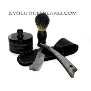 Damascus Steel Straight Razor with Damascus Steel handle Shaving Set