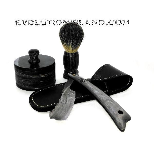 Damascus Steel Straight Razor with Damascus Steel handle Shaving Set
