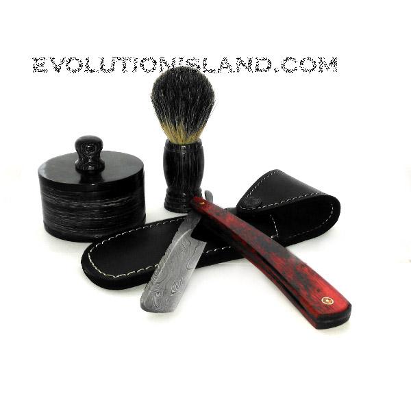 Damascus Steel Straight Razor with Pakkawood Red handle Shaving Set