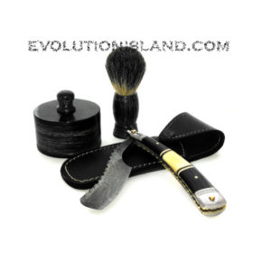 Damascus Steel Straight Razor with Camel Bone, Buffalo Horn and Stainless Steel handle Shaving Set