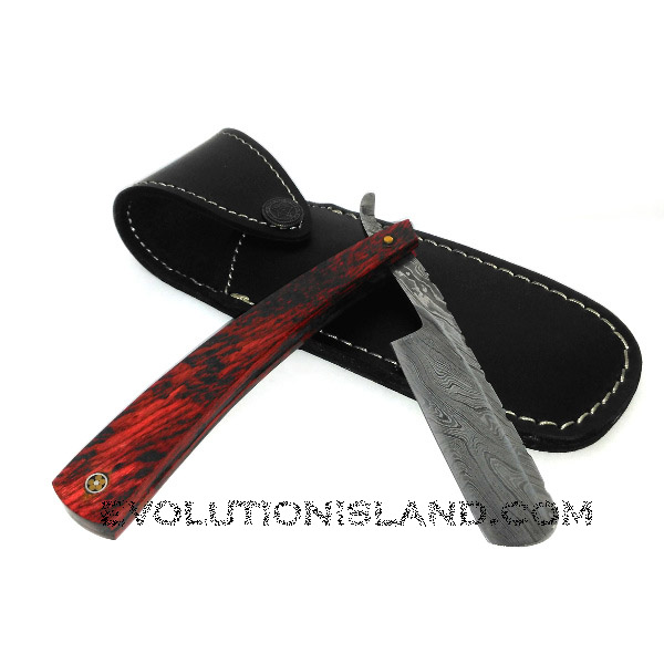 A Damascus Steel Straight Razor with Pakkawood Red Handle