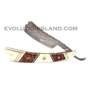 Damascus Steel Straight Razor with Camel Bone, Snakewood and Brass handle