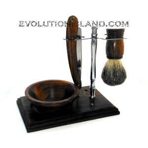 Carbon Steel Straight Razor with Brown Rosewood handle and full stand Shaving Set