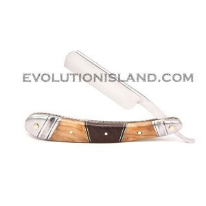 Carbon Steel Straight Razor with Chinar Wood, Walnut Wood and Stainless Steel brown handle
