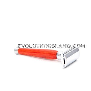DE Safety Razor handmade with Orange Pakkawood handle