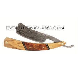 A Damascus Steel Straight Razor with Olive Wood and Redwood Burl handle