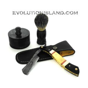 A Damascus Steel Straight Razor with Camel Bone and Buffalo Horn handle Shaving Set
