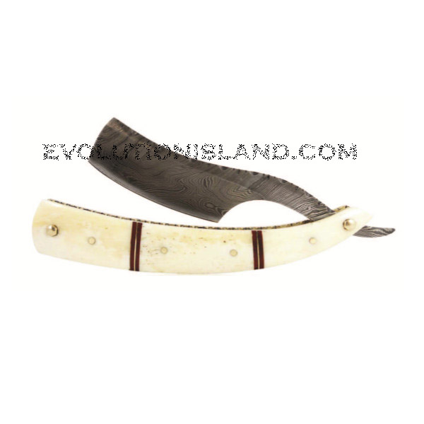 A Damascus Steel Straight Razor with Camel Bone handle