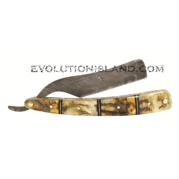 A Damascus Steel Straight Razor with Rams Horn handle