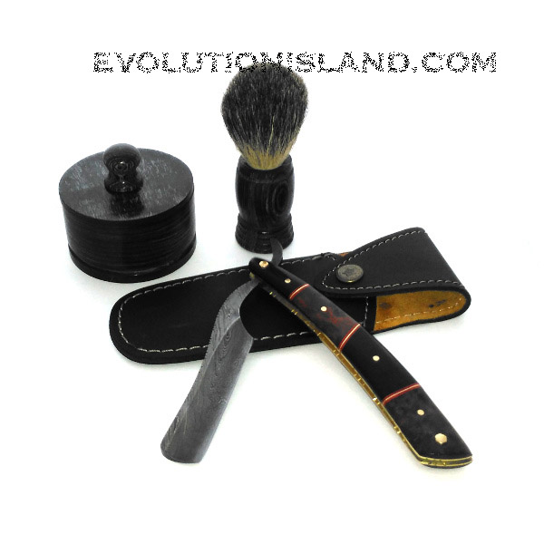 A Damascus Steel Straight Razor with Ebony Wood and Redwood Burl handle Shaving Set