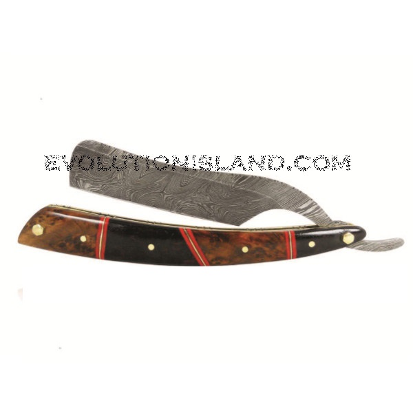 A Damascus Steel Straight Razor with Ebony Wood and Redwood handle