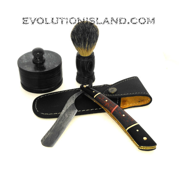 A Damascus Steel Straight Razor with Red Palm Wood handle Shaving Set
