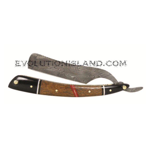 A Damascus Steel Straight Razor with Red Palm Wood handle