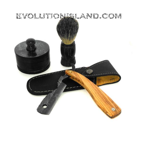 A Damascus Steel Straight Razor with Olive Wood handle Shaving Set