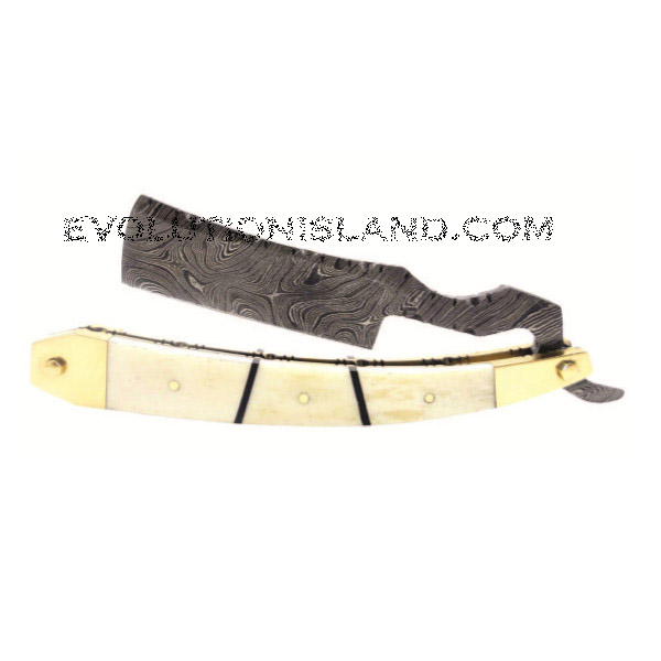 A Damascus Steel Straight Razor with Camel Bone and Brass handle