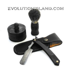 A Damascus Steel Straight Razor with Buffalo Horn handle Shaving Set