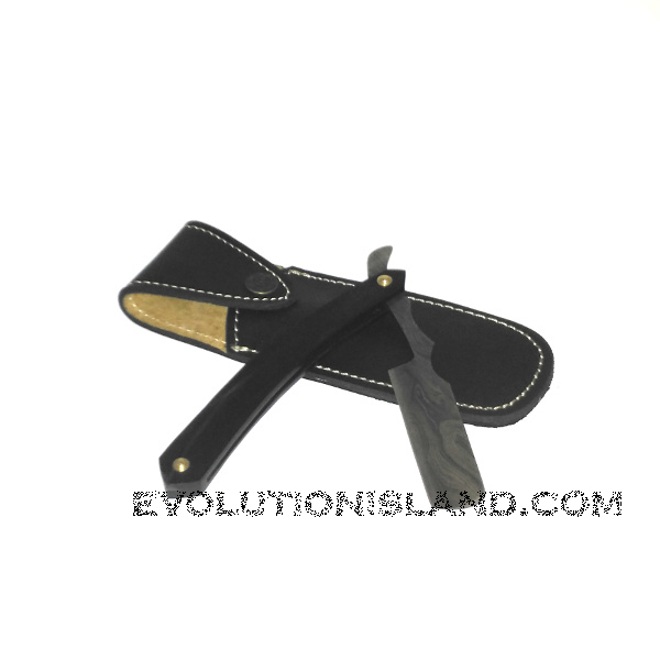 A Damascus Steel Straight Razor with Buffalo Horn handle