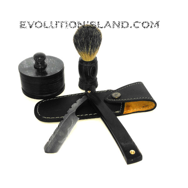 A Damascus Steel Straight Razor with Buffalo Horn handle Shaving Set
