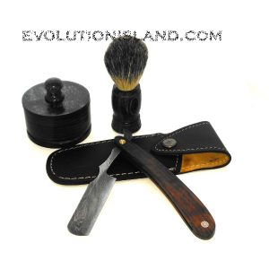 A Damascus Steel Straight Razor with Rosewood handle Shaving Set