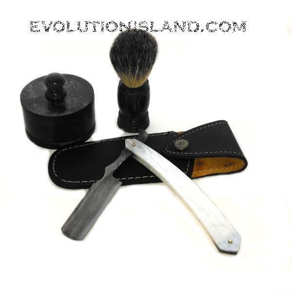 A Damascus Steel Straight Razor with Imitation Pearl white handle Shaving Set