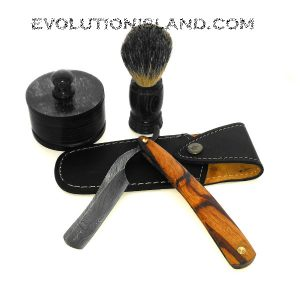 A Damascus Steel Straight Razor with Marble Wood handle Shaving Set