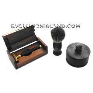 DE Safety Razor handmade with Black Buffalo Horn handle Shaving Set